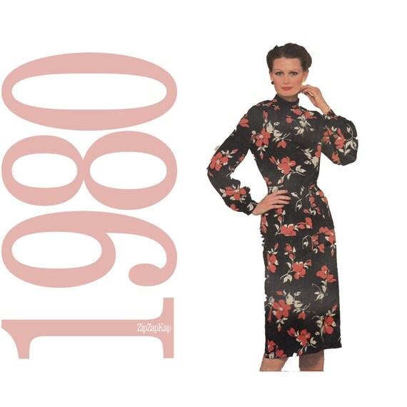 80s Vintage Dress Pattern - B43 - Simplicity 9757 - Uncut, Factory Folds - 1980s Dress Vintage Sewing Pattern