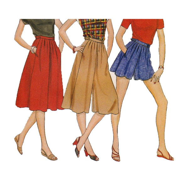 80s Culottes Vintage Pattern Butterick 4405 UNCUT FF