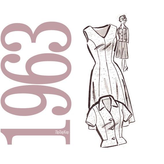 60s Mad Men Dress and Jacket Vintage Pattern - B45 - Mail Order 4556