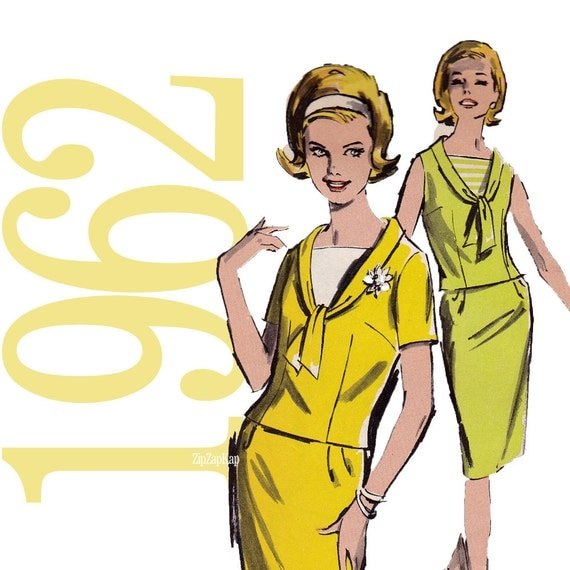 60s Mad Men Two Piece Dress Vintage Pattern - B34 - Advance 2890