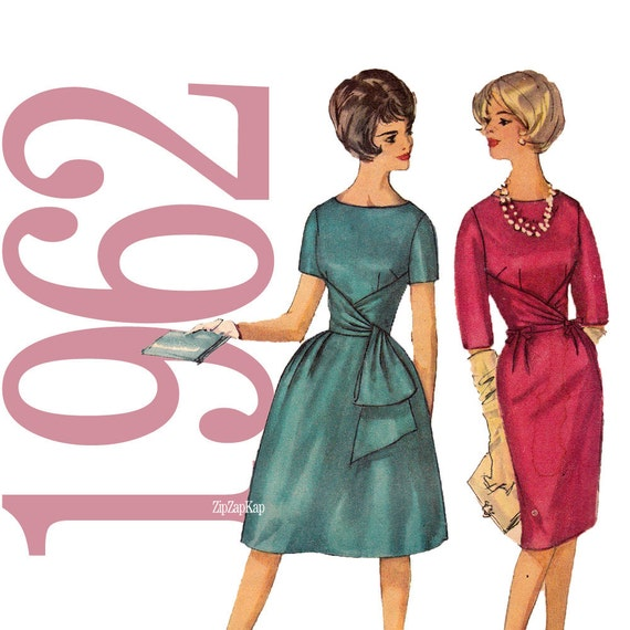 60s Mad Men Bow Dress Vintage Pattern - B34 - Simplicity 4230