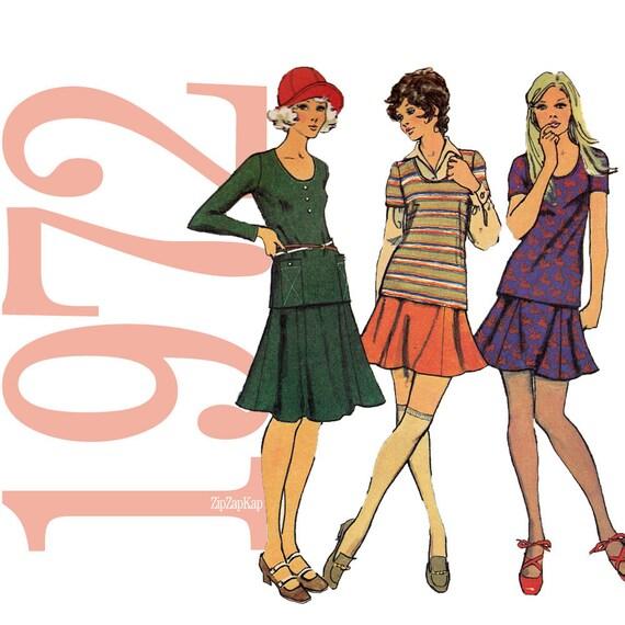 70s Two Piece Dress Vintage Pattern - B34 - Simplicity 5074