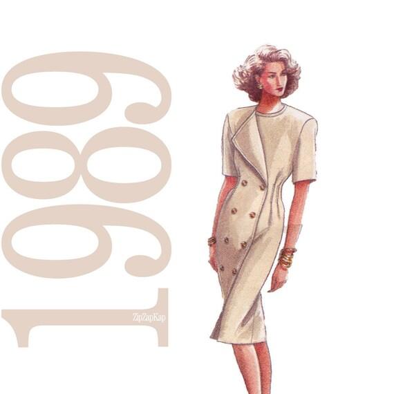 80s Dress Vintage Pattern - B40, B42, B44 - Vogue 7640 - Uncut, Factory Folds
