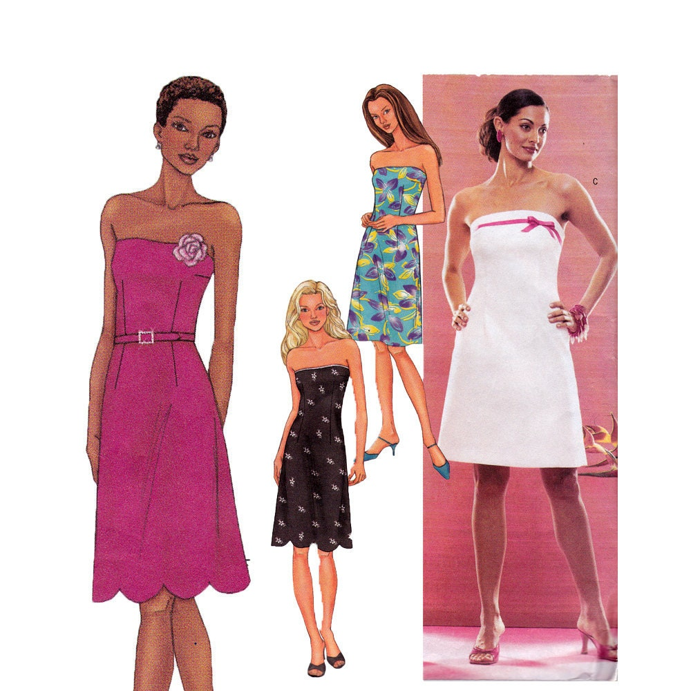 Strapless Dress Sewing Pattern Size 12 14 16 Butterick