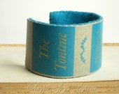 Unisex Eco-Friendly Bamboo Felt Vintage Book Spine Cuff Bracelet - Turquoise and Gray