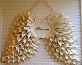 Cottage Chic Angel Wings Blessings Wreath Wall Hanging Wedding Decoration - MTO - Vintage French Book