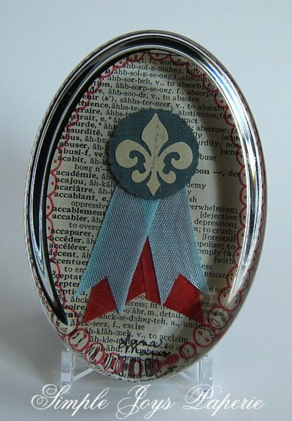SALE Coral Red & French Blue Fleur De Lis Badge Under Glass Crystal Paperweight Stocking Stuffer