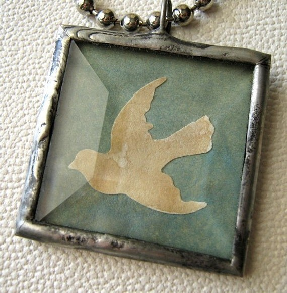 Aged Ivory Paper Bird on Muted Aqua Parchment Rustic Soldered Beveled Glass Charm Necklace for Nature Lovers