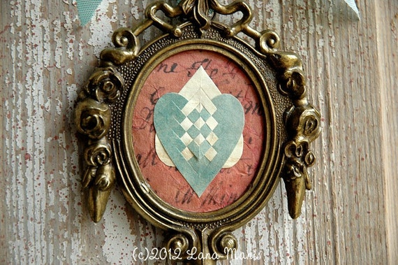 Double Hearts Love Token No. 14 - Heart in Hand Papercutting in Vintage Baroque Frame - Wedding Engagement Anniversary