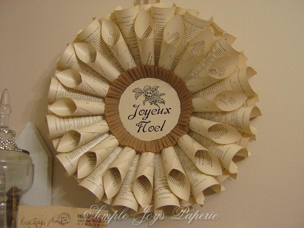 joyeux noel french grammar vintage book wreath. Black Bedroom Furniture Sets. Home Design Ideas