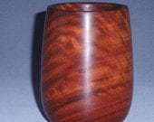 Wood bowl, cup, Narra, Amboyna, curly, nice figure, red,  3 inches x 4 inches