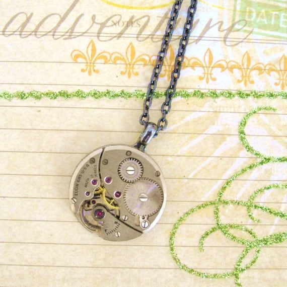 Steampunk Necklace Antique Watch Gear Small Silver Ornate Movement Engraved, Technology , FREE SHIPPING by Maddie Lisee
