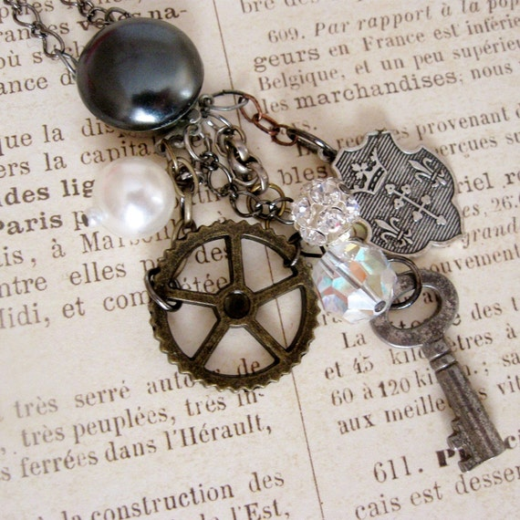 Antique Assemblage Necklace Skeleton Key Gear crown fleur de lis pearls rhinestones, All Together Now, jewelry FREE SHIPPING by Maddie Lisee