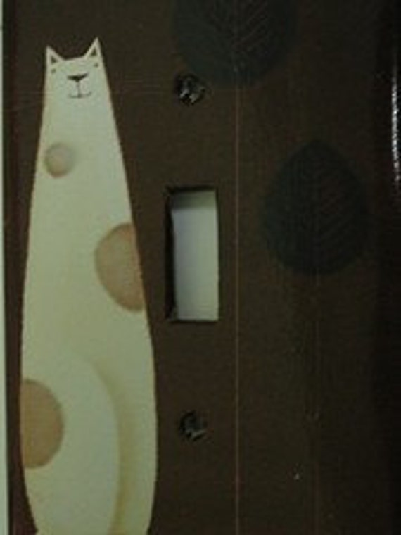 Cream and Brown Kitty Light Switch Cover