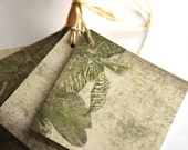 Handmade Paper Tags with Tropical Leafs, Tropical Tags, Leafy tags, Rustic Tags, DIY Tags