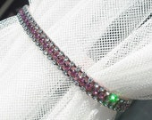 Swarovski Crystal Rhinestone Dog Collar - 3 Row Clear/Rose on Pink - 10 Inch Yorkie Size
