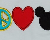 Reserved for mikaylasmum Custom Peace Love mister mouse Applique embroidered shirts