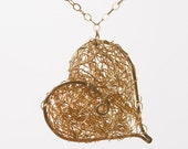 Eco Friendly 14k Gold Fill Heart Pendant Necklace Intertwined Heart Necklace