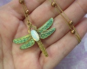 Necklace, Dragonfly, Gold, Copper, Fire Opal, Handmade