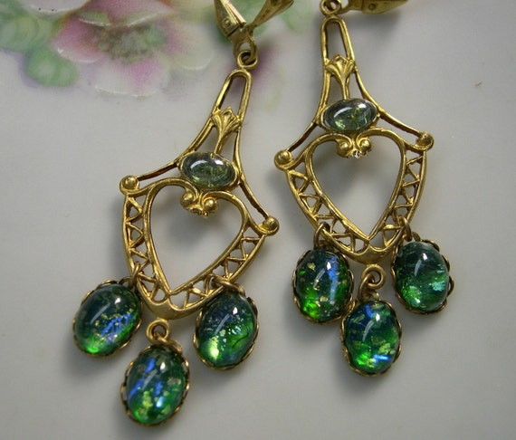 Green Opal Chandelier Earrings, Vintage Glass, Victorian Style, by Upswept Illusions on Etsy