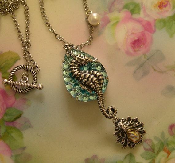 Aquamarine Silver Seahorse Glass Necklace, Seashell, Upswept Illusions on Etsy