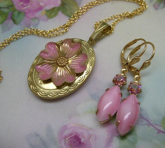 Pink Rose ~ Pendant ~ Locket ~ SET ~ Pink Necklace ~ Cameo Pink ~ Vintage Glass ~ Earrings ~ by Upsweptillusions