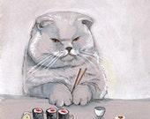 Sushi Cat Grumps Print