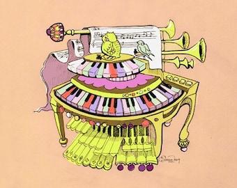 Fantastical Birdwriter Organ Print 8x10