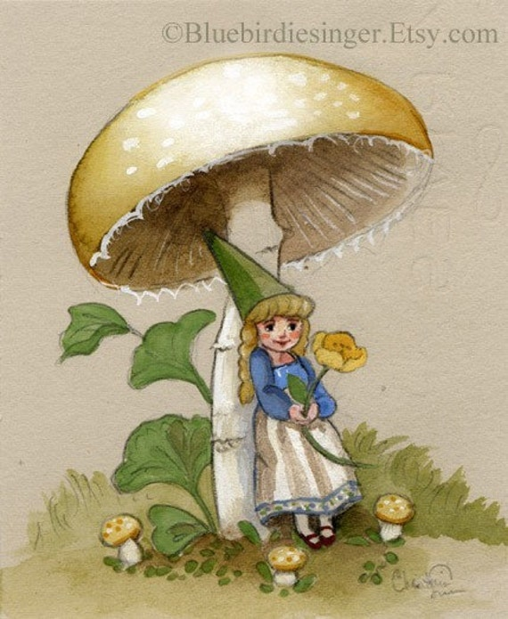Gnome Lady Buttercup Mushroom Afternoon PRINT