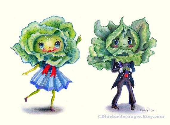 Kitschy Kitchen Leafy Greens Cute Couple Art Print