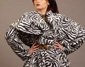 Zebra Fleece Wrap Coat