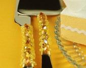 Yellow wedding cake sever and knife set handmade beaded crystal- READY TO SHIP
