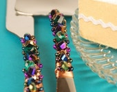 Bright peacock with copper wire and crystal beaded handmade wedding cake knife and server by Jbox