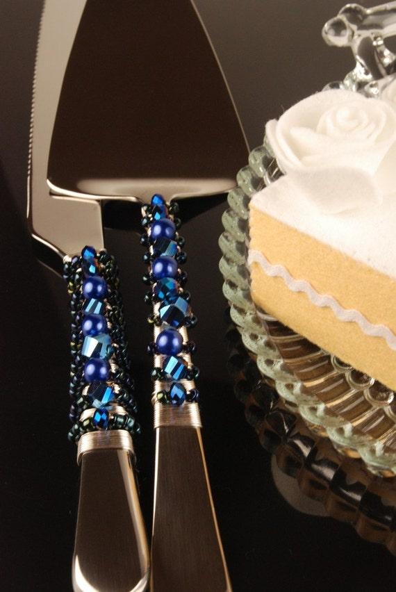 Metallic Midnight Blue Wedding Cake Server By