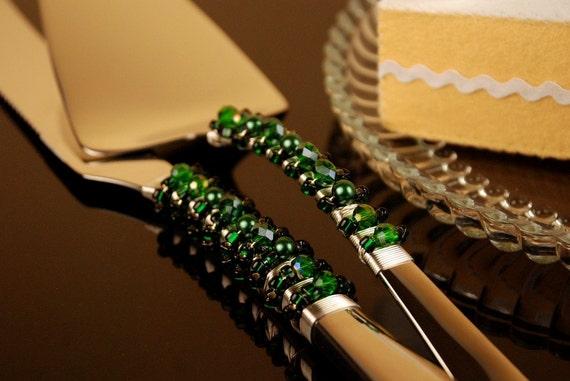 Emerald green cake server and knife handmade beaded crystal- READY TO SHIP