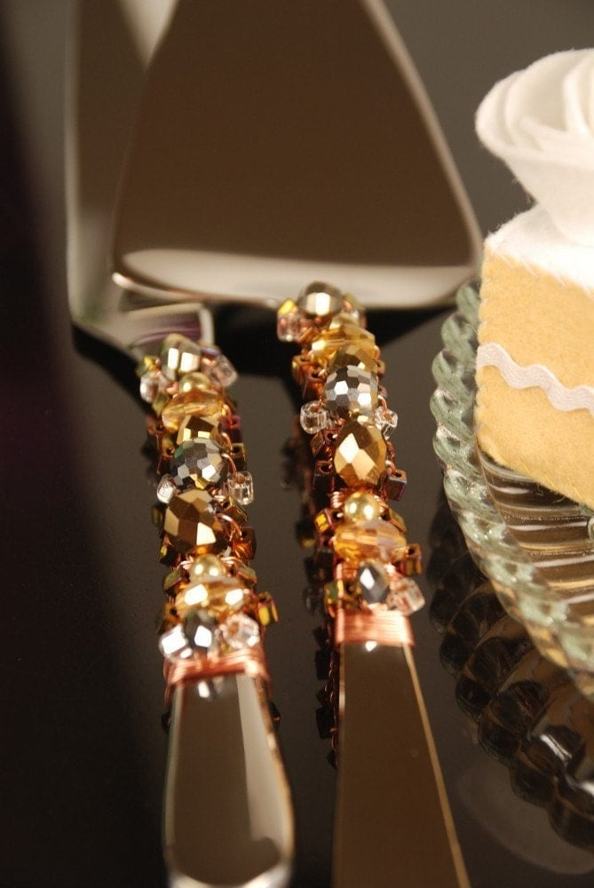 Copper Silver And Gold Beaded Wedding Cake Serving Set