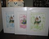 3 Traditional Toile Nursery Rhyme Prints