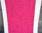 Silkscreen & Letterpress Cork Kitchen Print- Pink Foodie Art