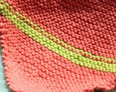 2-Color Hand Knit Cotton Dishrag or Washcloth or Kitchen Cloth