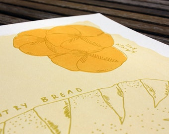 Silkscreen & Letterpress Bread Kitchen Print-Foodie Art