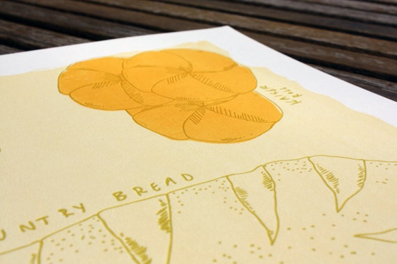 Silkscreen & Letterpress Bread Kitchen Print-Foodie Art