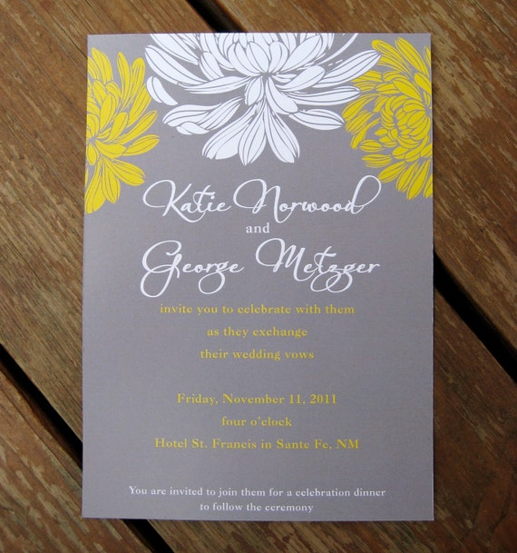Good Gray And Yellow Floral Wedding Invitation