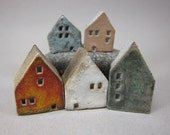 5 Saggar Fired Miniature Houses