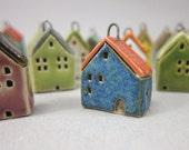 Tiny BLUE House Pendant in Stoneware