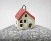 Tiny Crystalline WHITE House Pendant in Stoneware
