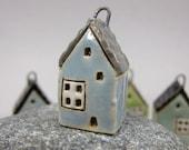 Big Window...BLUE...Miniature Cottage Pendant in Stoneware