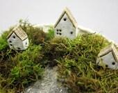 Pot Village...3 Miniature Houses in Stoneware for Moss Terrariums or Pot Gardens