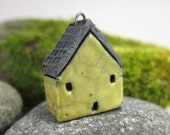 LIME...Saggar Fired Rustic House Pendant / Ornament
