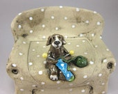 Almost Done...Lidded Trinket Box with Knitting Beagle
