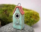 Turquoise Green Birdhouse...Stoneware Pendant / Ornament